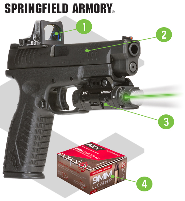 Springfield Armory XDM with X5L Gen 3 Laser and Trijicon RMR and 5 Boxes of 9MM Luger +P Interceptor Preferred Defense Ammo